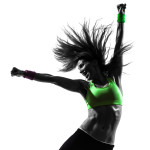 woman exercising fitness   dancing silhouette